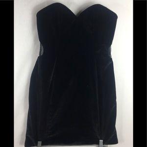 Blush prom black velvet strapless mini dress 8
